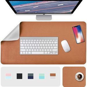 """31.5"""" x 15.7"""" + 8""""x11"""" Leather Desk Pad 2 Pack, Brown__Gray"""